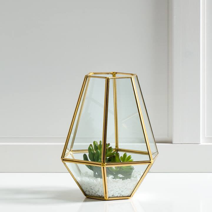Oro Hexagon Glass Hurricane