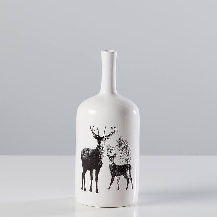 Stag Ceramic Decal Vase