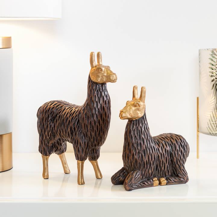 Gold Tipped Resin Standing Llama