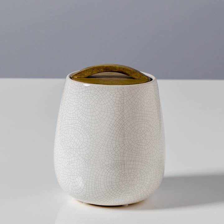 Basalt Crackle Glaze Canister with Wooden Lid