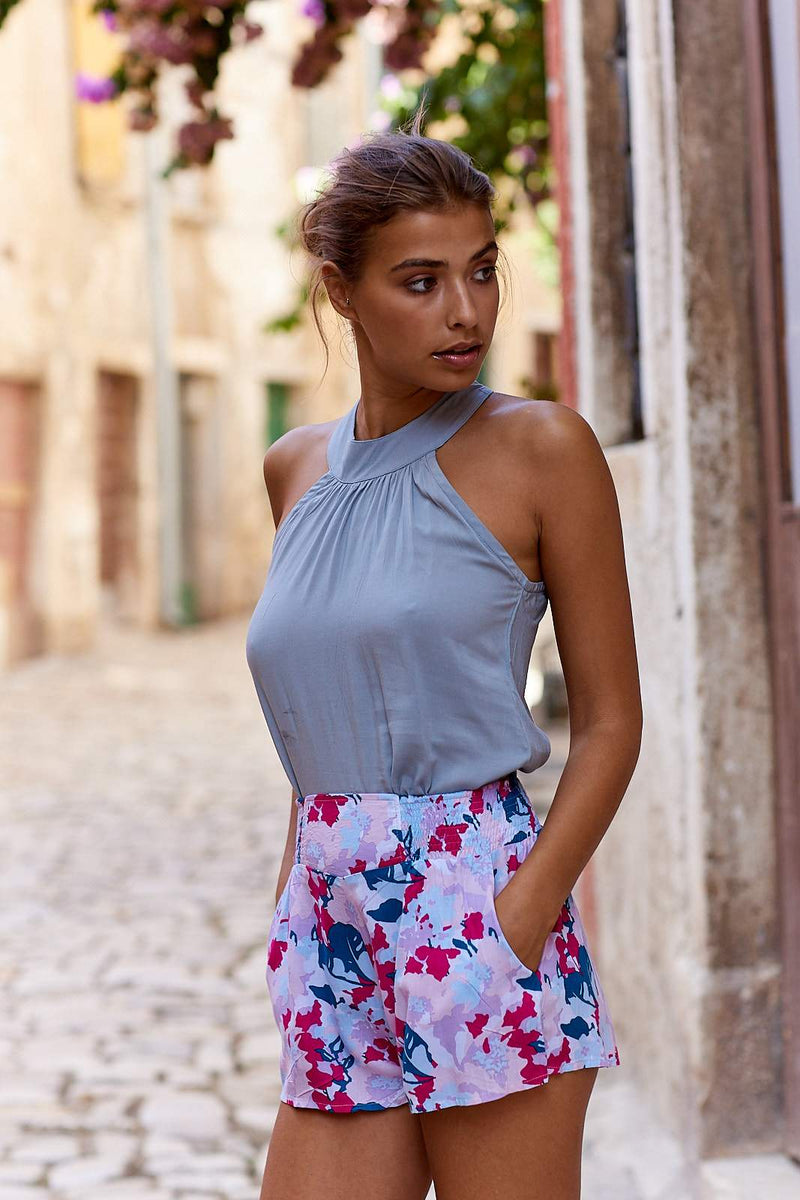 Carera Shorts ~ Magenta & Teale Watercolour Print-Shorts-Harla