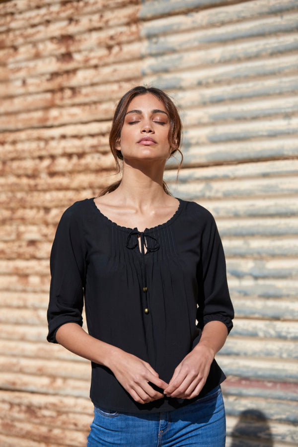 Amelia Pleated Crepe Blouse ~ Black-Top-Harla