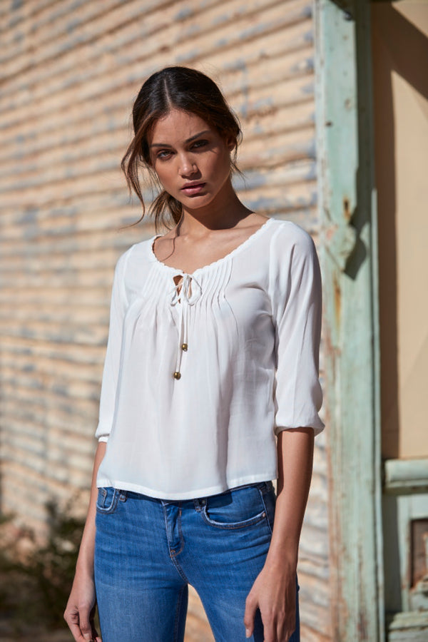 Amelia Pleated Crepe Blouse ~ White-Top-Harla