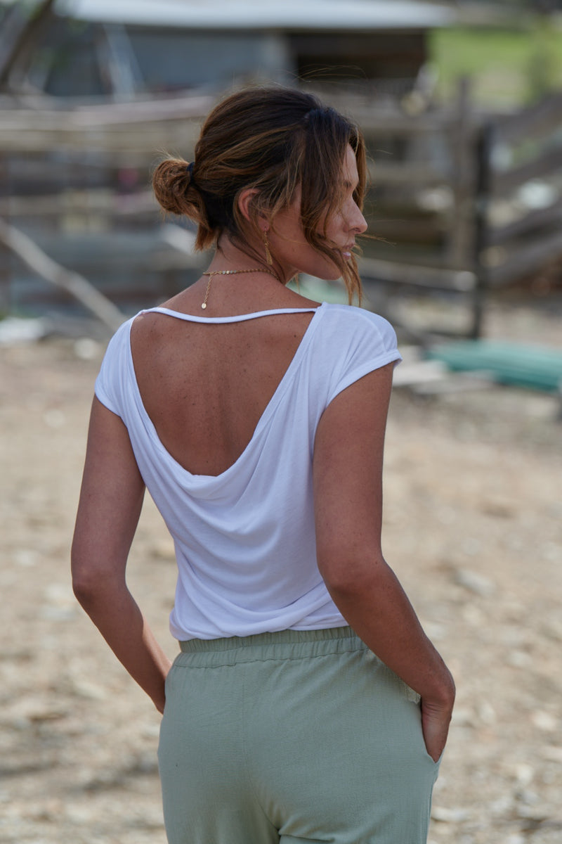 Ava 100% Bamboo Draped Back T. ~ White-Top-Harla