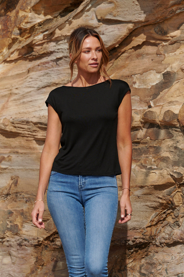 Ava 100% Bamboo Draped Back T. ~ Black-Top-Harla