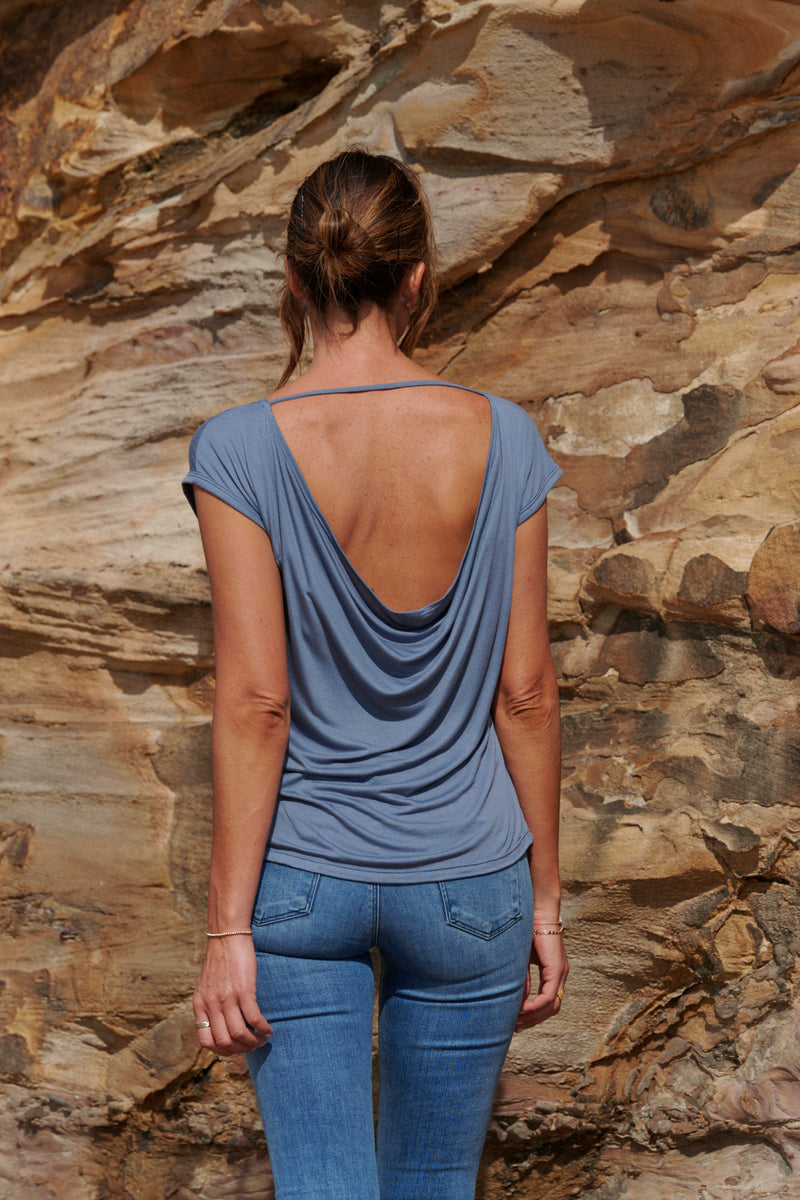 Ava 100% Bamboo Draped Back T. ~ Blue-Top-Harla