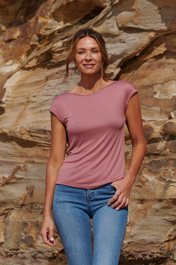 Ava 100% Bamboo Draped Back T. ~ Rich Coral-Top-Harla