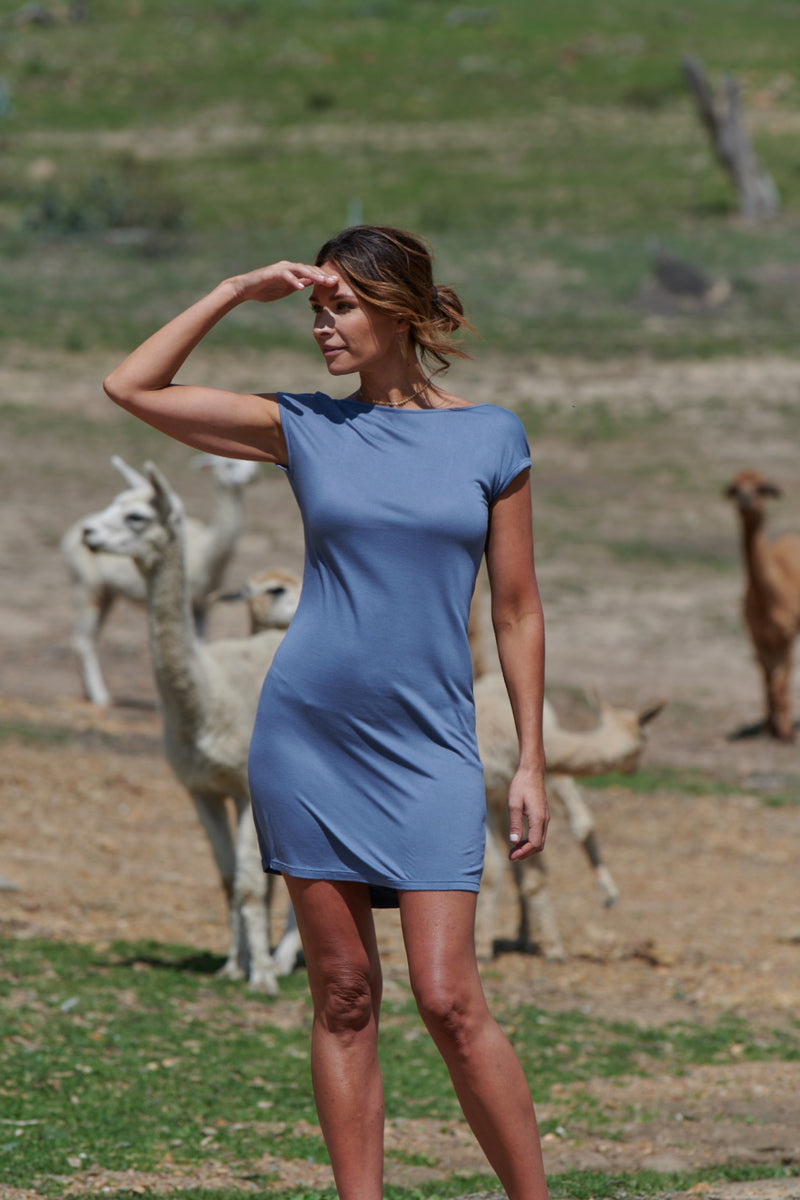 Camilla 100% Bamboo Dress ~ Blue-Dress-Harla