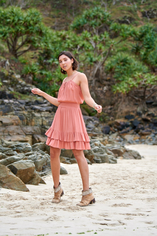 Dakota Ruffle Dress ~ Burnt Coral-On sale-Harla