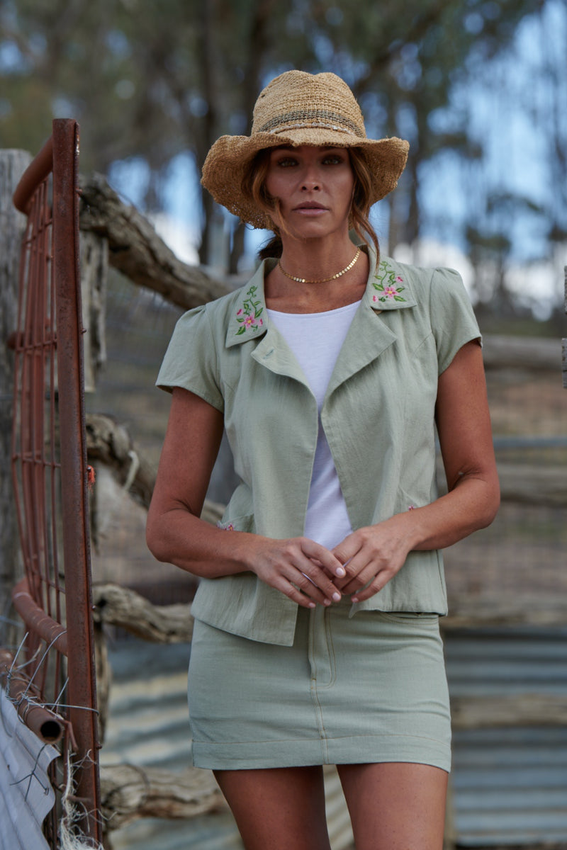 Delilah 100% Cotton Short Sleeve Jacket ~ Embroidered Sage-Jacket-Harla