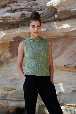 Evelyn Cable Knit Vest ~ Olive + Coffee-Knit-Harla