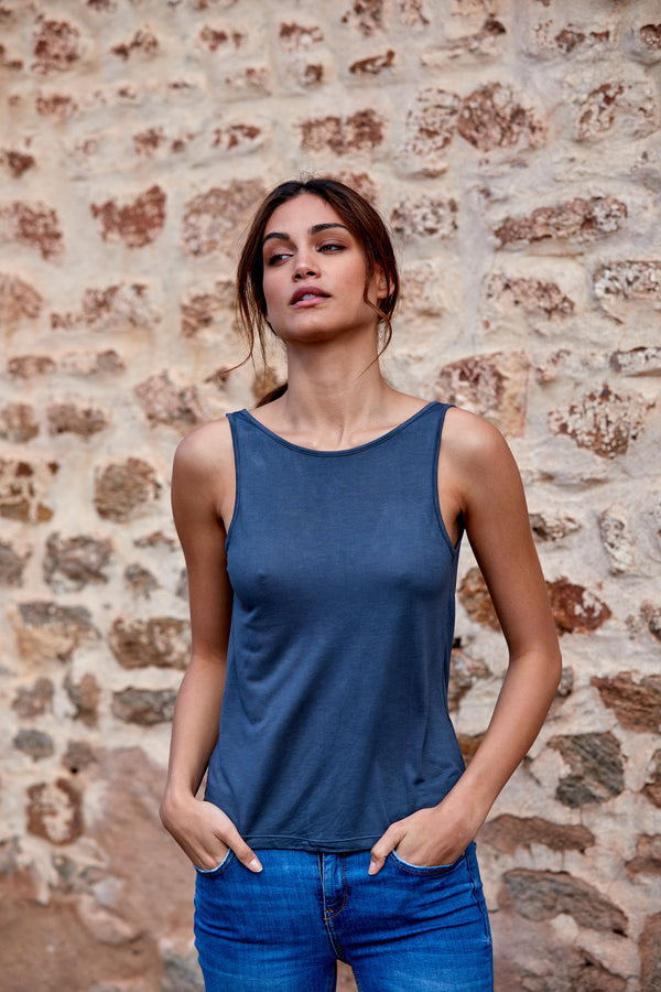 Grace 100% Bamboo Singlet ~ Charcoal-Top-Harla
