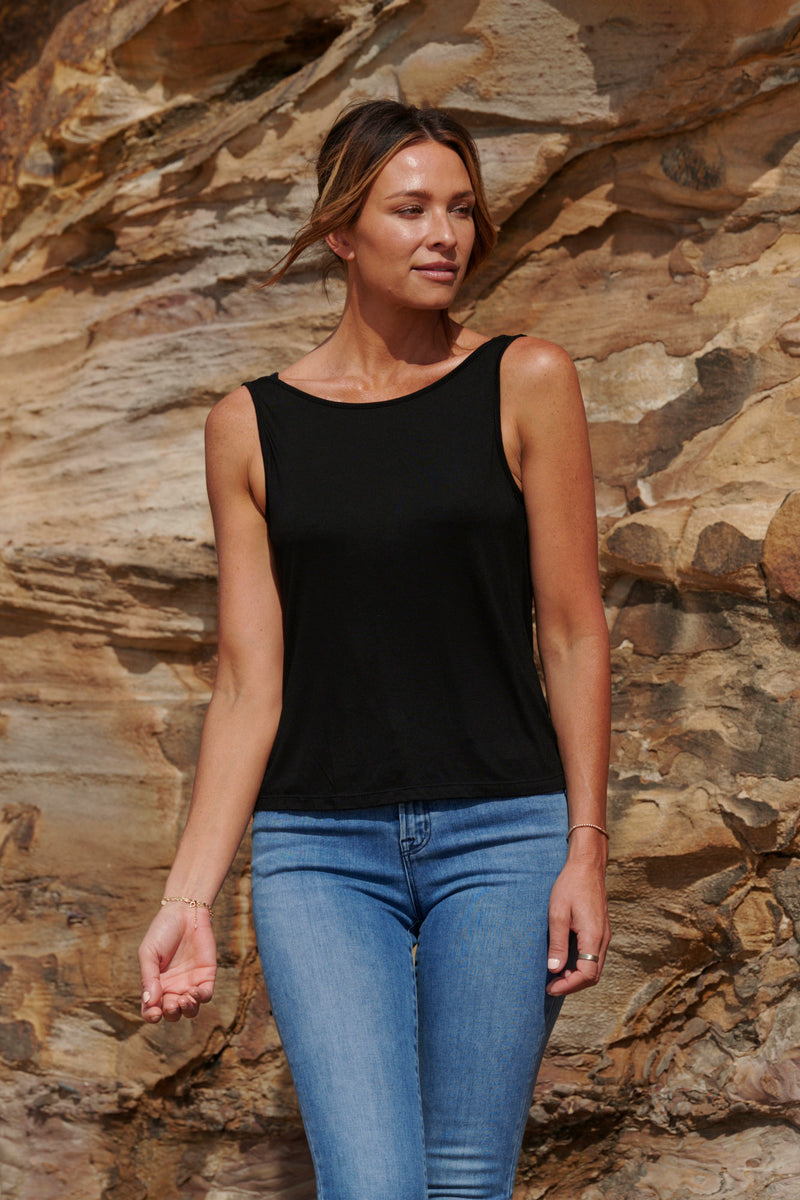 Grace 100% Bamboo Singlet ~ Black-Top-Harla