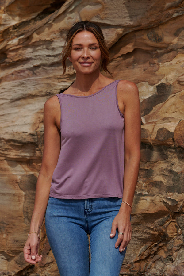 Grace 100% Bamboo Singlet ~ Twilight Mauve-Top-Harla