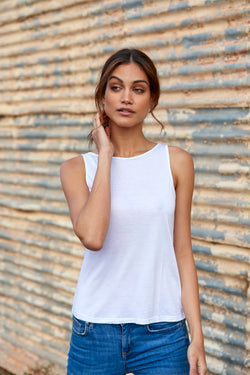 Grace 100% Bamboo Singlet ~ White-Top-Harla