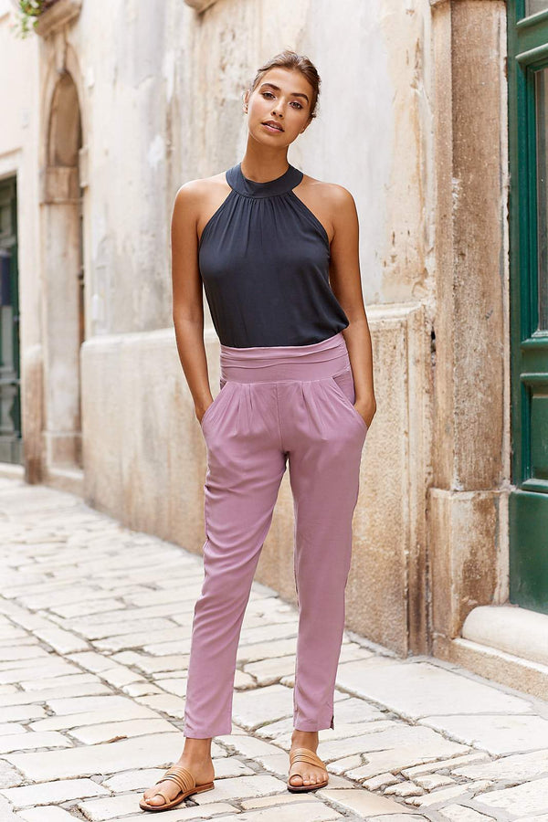 Coco Trousers ~ Pale Mauve-Pants-Harla
