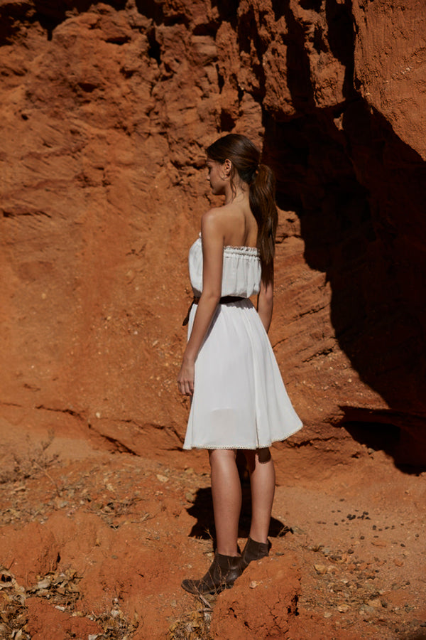 Harper Strapless Dress ~ White-Dress-Harla