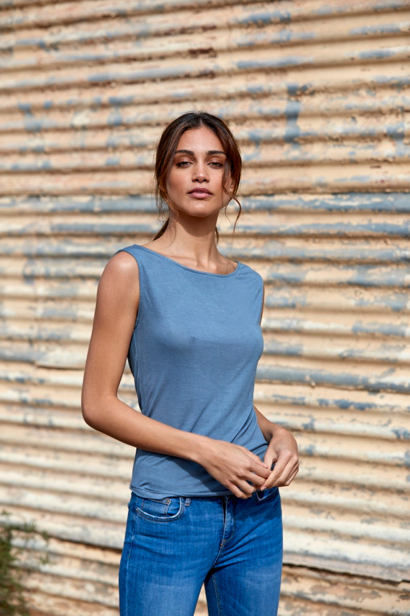 Ivy 100% Bamboo Boatneck Top ~ Blue Grey-Top-Harla