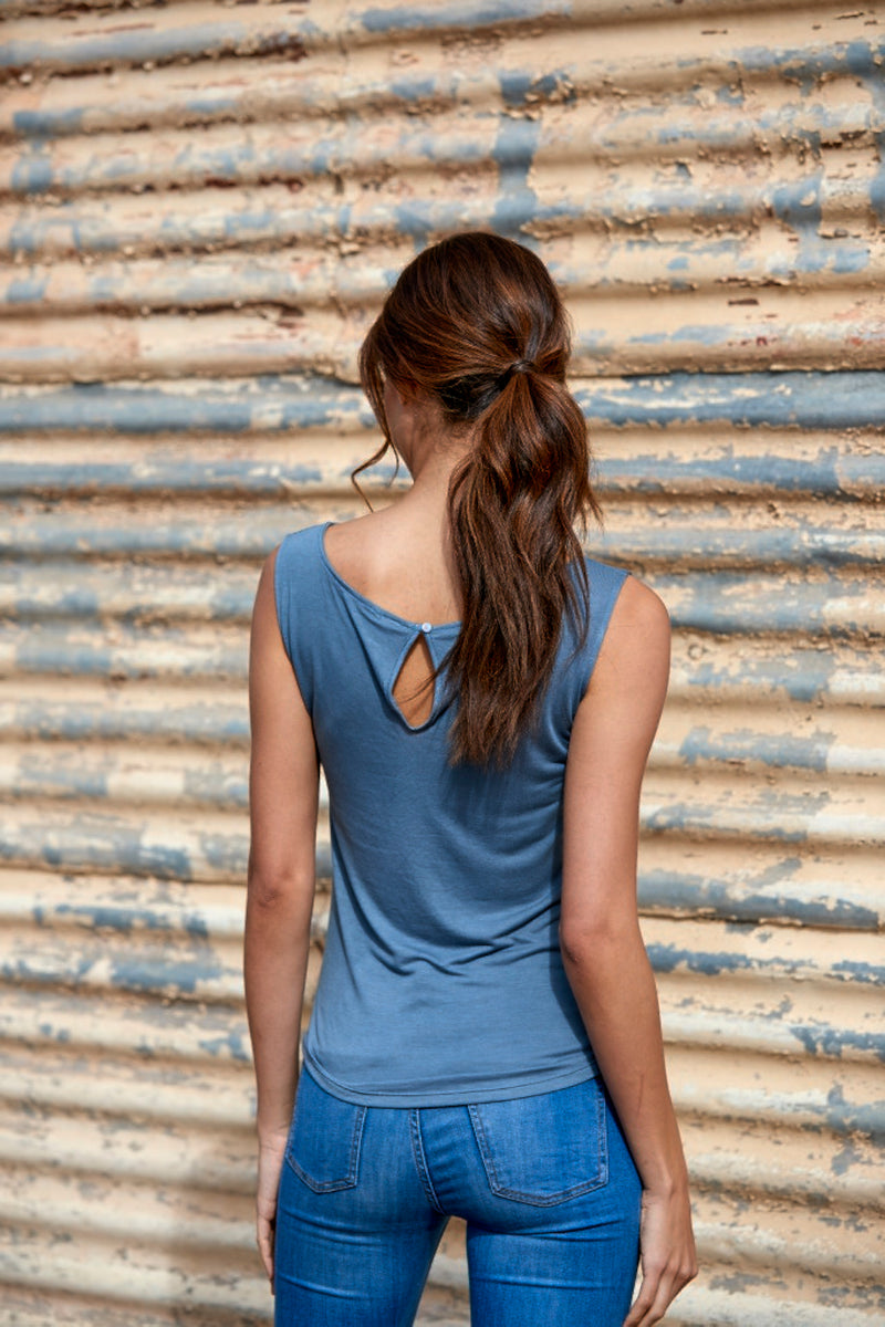Ivy 100% Bamboo Boatneck Top ~ Blue-Top-Harla