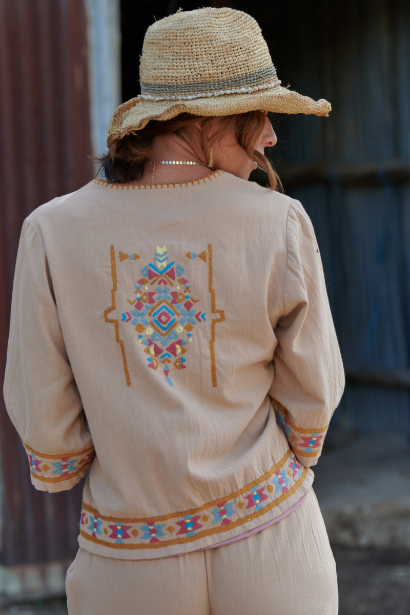 Kora 100% Cotton Embroidered Jacket ~ Maple-Jacket-Harla