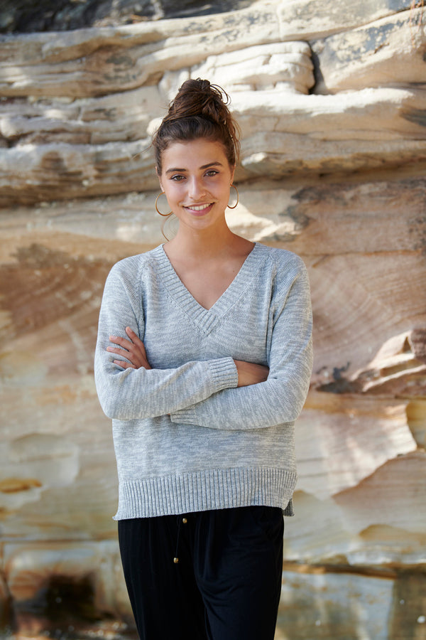 Lola 100% Cotton Knit Sweater ~ 2 colours available-Top-Harla