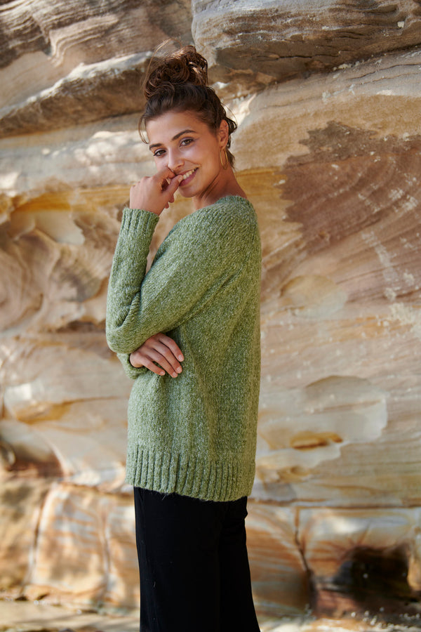 Lola Knit Sweater ~ Khaki-Top-Harla