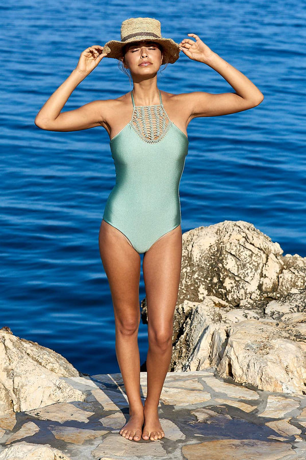 Amal One Piece Swimsuit ~ Metallic Mint-Swimsuit-Harla