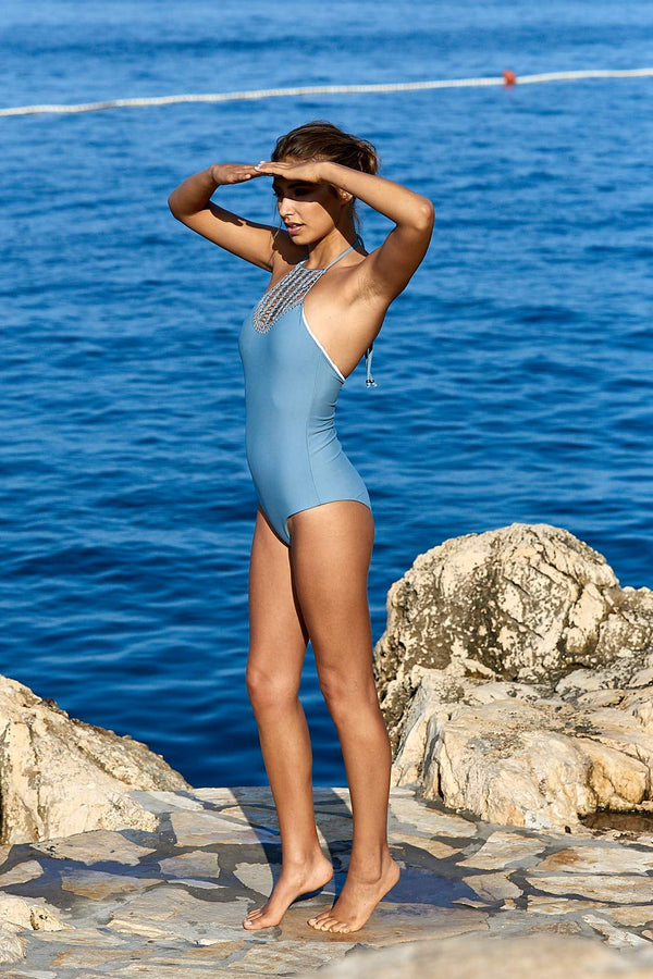 Amal One Piece Swimsuit ~ Blue-Swimsuit-Harla