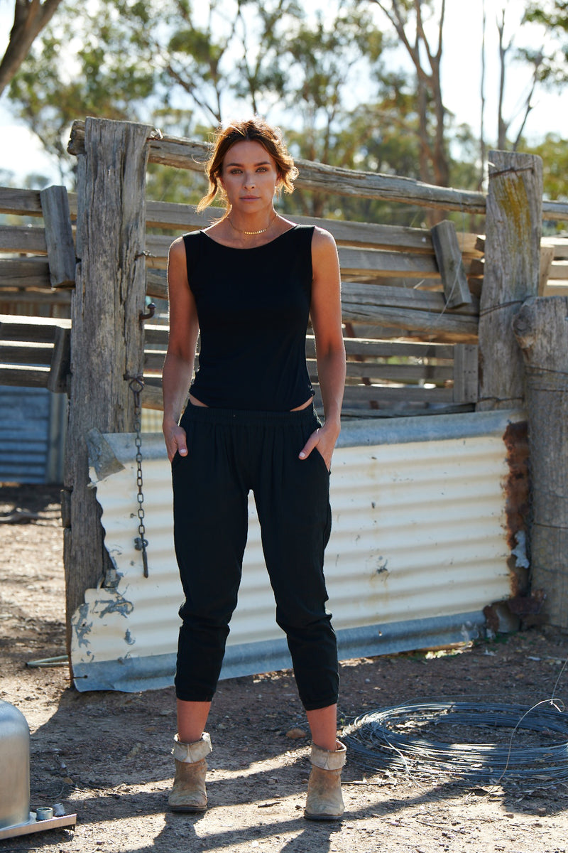 Ruby 100% Cotton Trousers ~ Black-Trousers-Harla