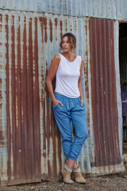 Ruby 100% Cotton Trousers ~ Chambray-Trousers-Harla