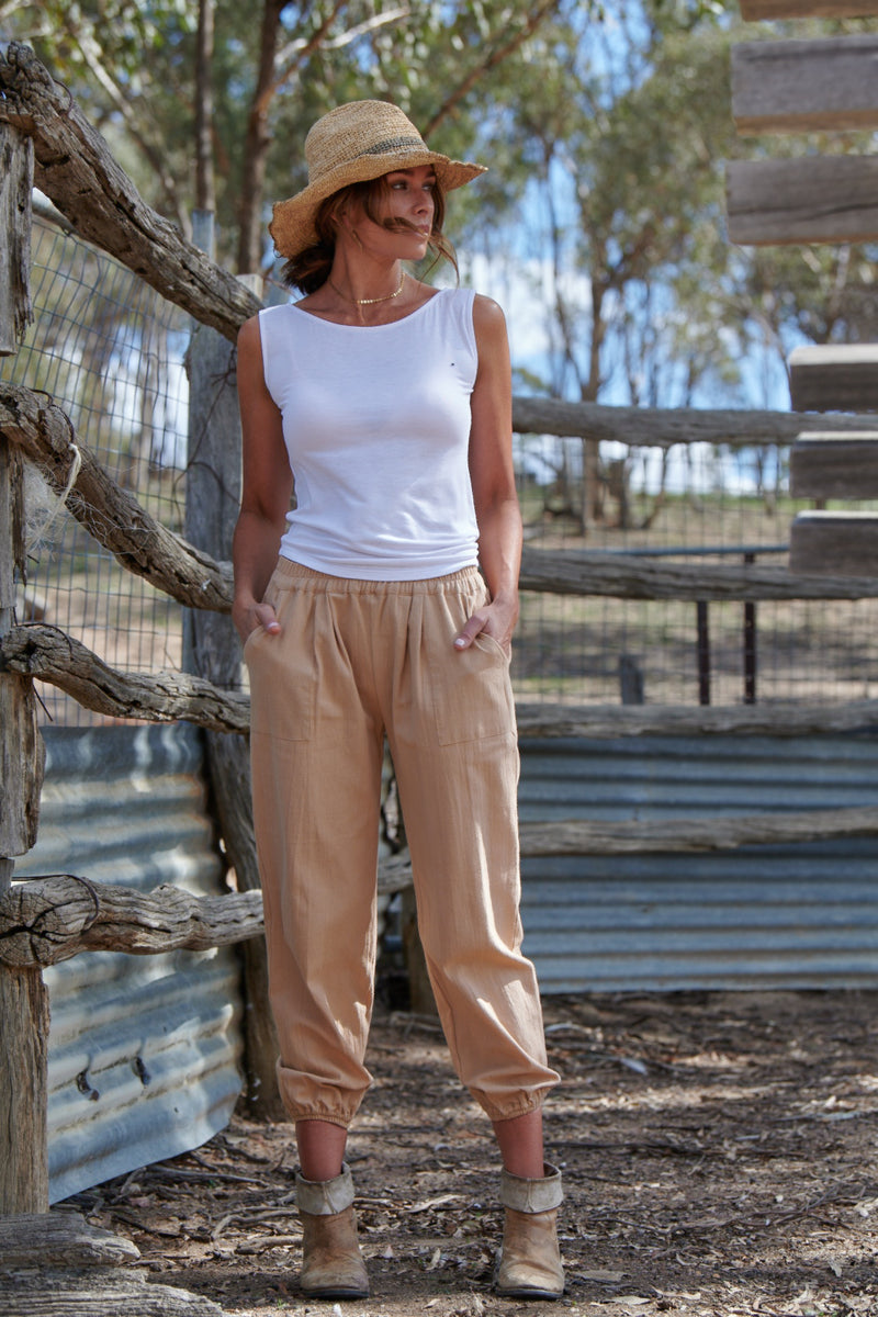 Ruby 100% Cotton Trousers ~ Maple-Trousers-Harla
