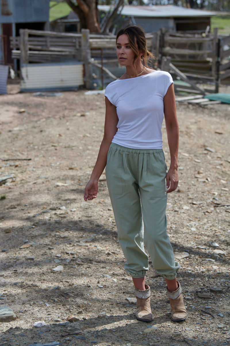 Ruby 100% Cotton Trousers ~ Sage-Trousers-Harla