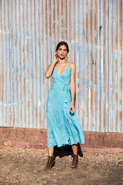 Vivienne Wrap Dress ~ Turquoise-Wrap Dress-Harla