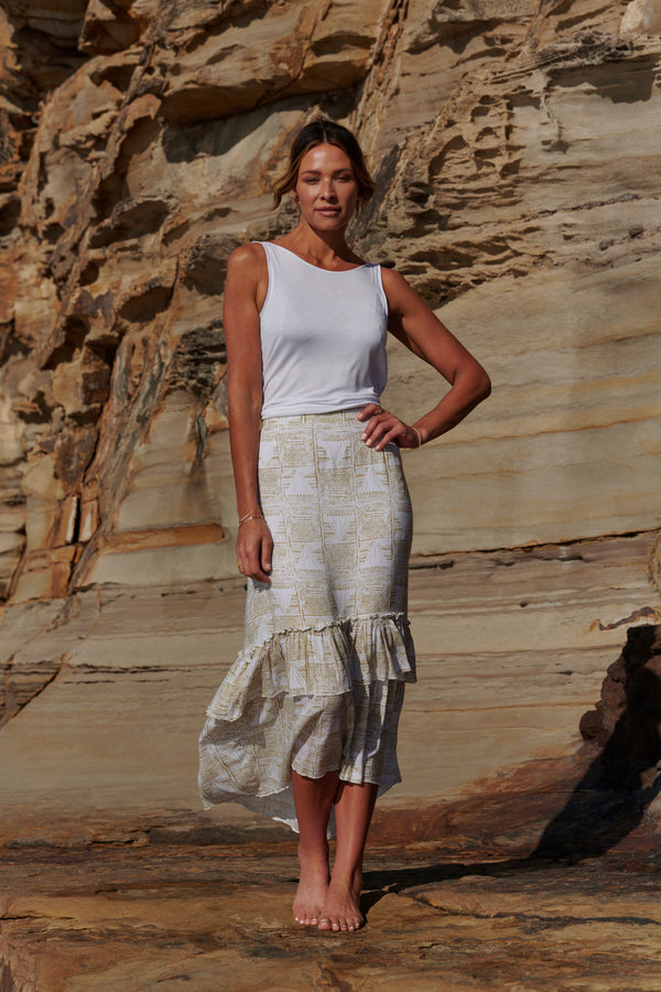 Zoe Layered Maxi Skirt ~ White & Gold-Skirt-Harla