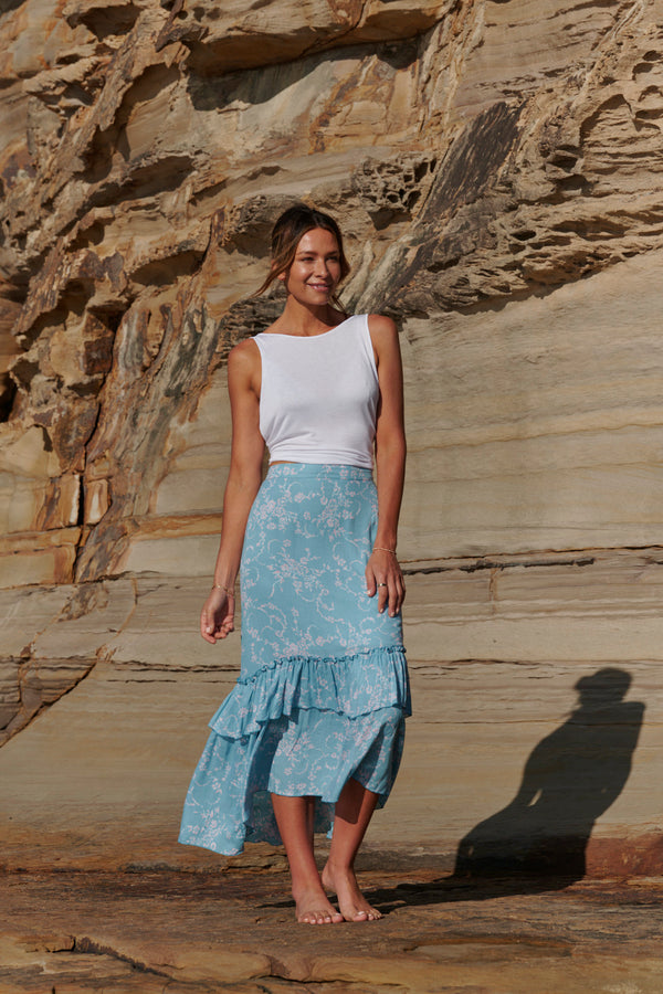 Zoe Layered Maxi Skirt ~ Aqua Blue-Skirt-Harla