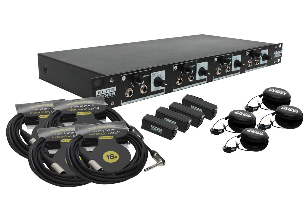Elite Core HA4X4-4UB-RVC 4 User Bundle with EU-5X Earphones and Remote Volume Controls