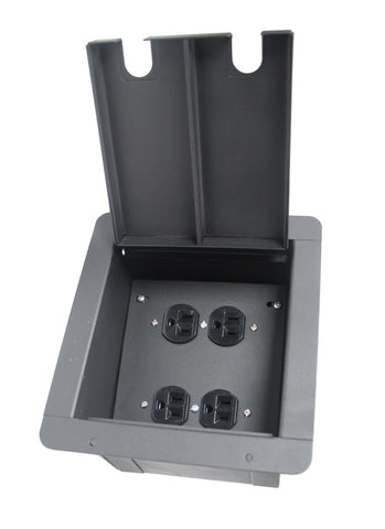 Elite Core Audio FB-QUAD-AC Recessed Floor Box with 2 Duplex AC Connection