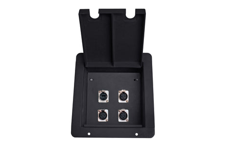 Elite Core FB4 Recessed Floor Box with 3 XLRF + 1 EtherCon Pass-Through Jack