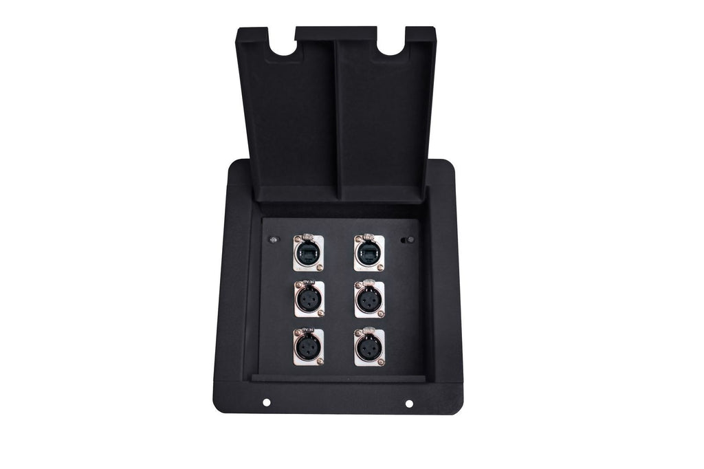 Elite Core FB6 Recessed Floor Box with 4 XLRF + 2 EtherCon Pass-Through Jacks