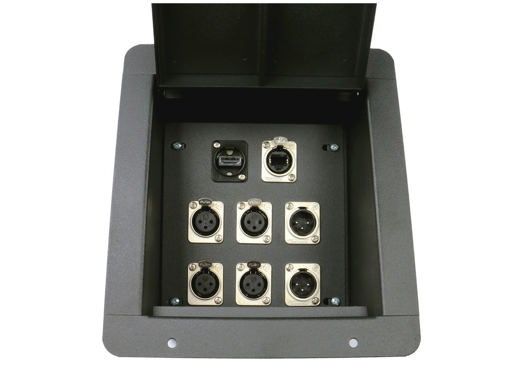 Elite Core FB8-4XF2XM1H1E Recessed Floor Box loaded with 4 XLR Female, 2 XLR Male, 1 HDMI and 1 Tactical Ethernet