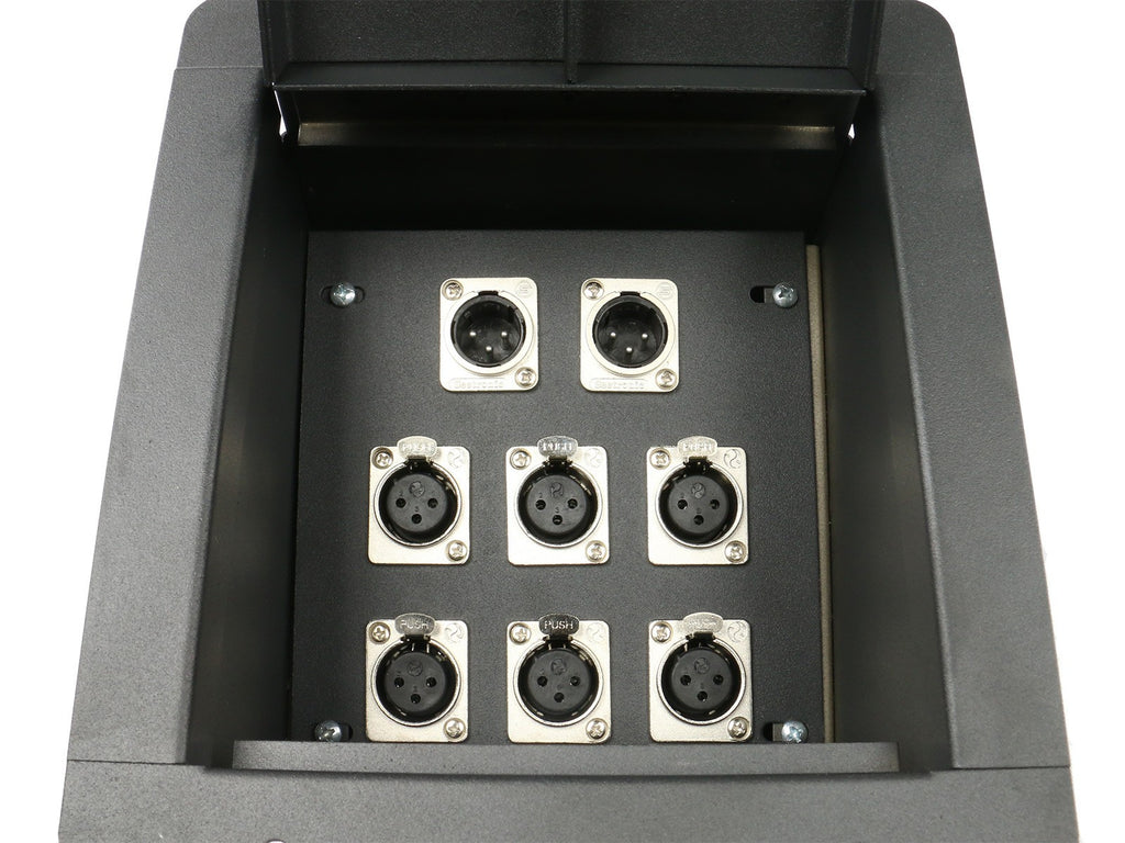 Elite Core FB8-6XF2XM Recessed Floor Box loaded with 6 XLRF + 2 XLR Male