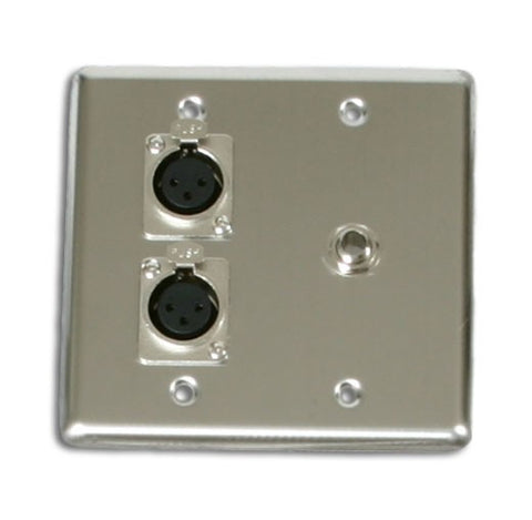 OSP Q-2-XLR-1-1/4 Double Gang Wall Plate with 2 XLR and 1 1/4in -