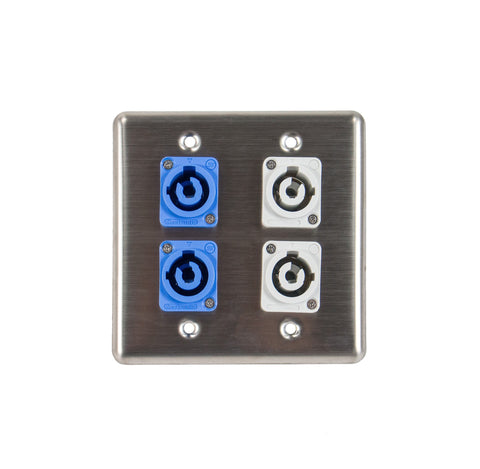 OSP Q-4-2PCA2PCB Stainless Steel Quad Wall Plate w/ 2 Powercon A and 2 Powercon B Connectors