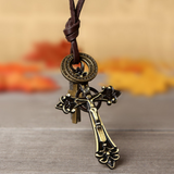 Jesus Cross Leather Necklace