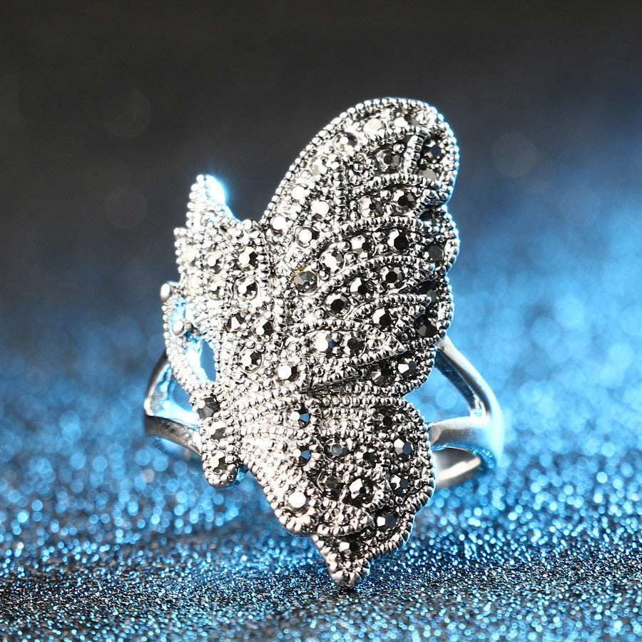 Black Diamond Butterfly Ring