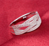 Promise Ring Band Double Cross Silver