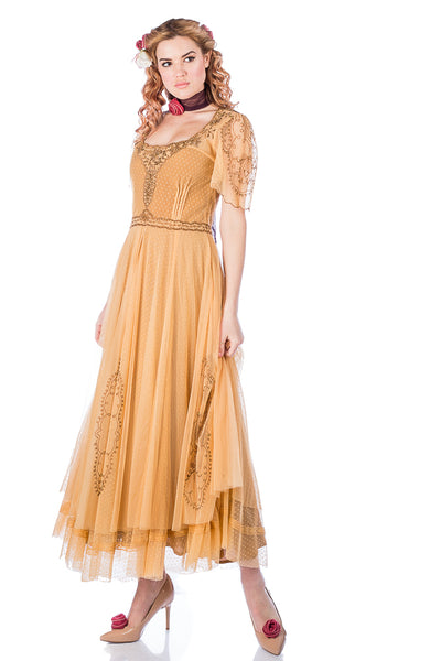 Nataya Alice 40815 Vintage Dress in Gold