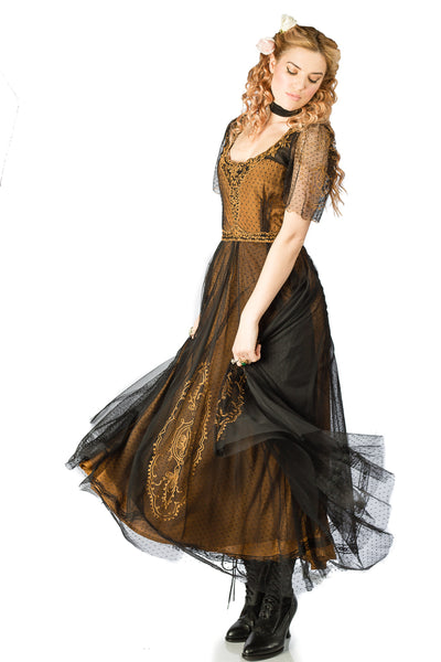 Nataya Alice 40815 Vintage Dress in Black/Gold