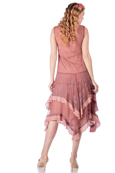 Nataya 40819 Flapper Style Dress in Mauve