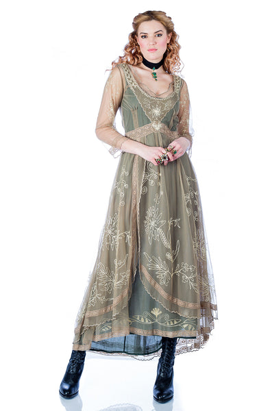 Nataya 40163 Downton Abbey Tea Party Gown in Sage